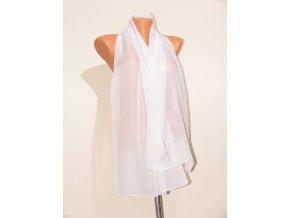 Šátek dlouhy jednobarevný 155x65 cm bílý