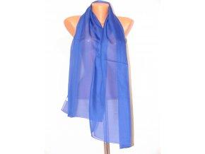 Šátek dlouhy jednobarevný 155x65 cm modrý