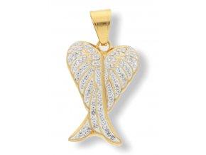 Přívěsek andělské křídlo DUO chirurgická ocel  GOLD  + dárkové balení