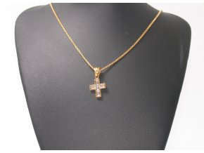 Přívěsek křížek s řetízkem GOLD + dárkové balení  + dárkové balení