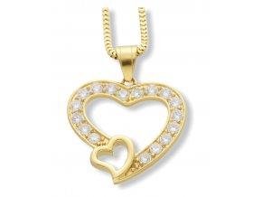 Řetízek s přívěskem srdce Gold  + dárkové balení