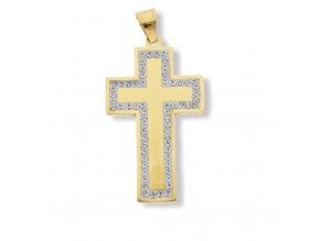 Ocelový kříž Gold z chirurgické oceli  + dárkové balení