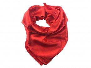 Saténový jednobarevný šátek 85 x 85 cm - červená