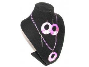 Náhrdelník kruh a náušnice fialová
