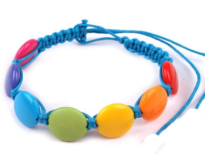 Náramek s plastovými korálky modrý
