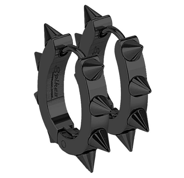 Ewena Černé ocelové náušnice - kroužky s ostny