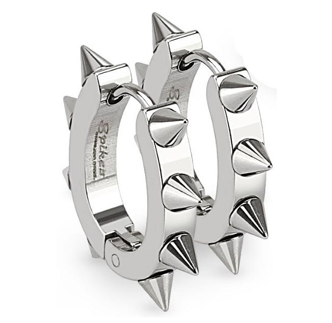 Ocelové náušnice - kroužky s ostny