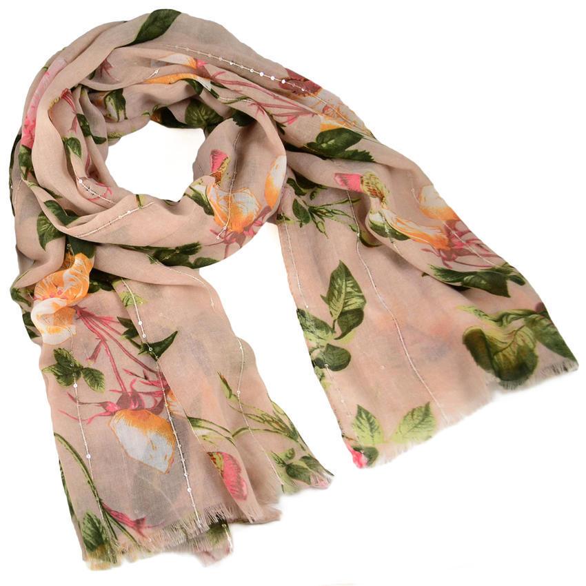 Ewena Šála klasická - růžová s květy