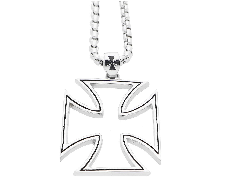 Ewena Ocelový motorkářský přívěsek Maltézský kříž s řetízkem