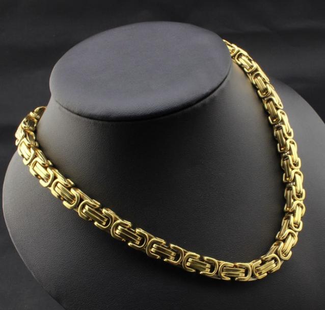 Ewena Řetízek královský vzor z chirurgické oceli 316L Gold