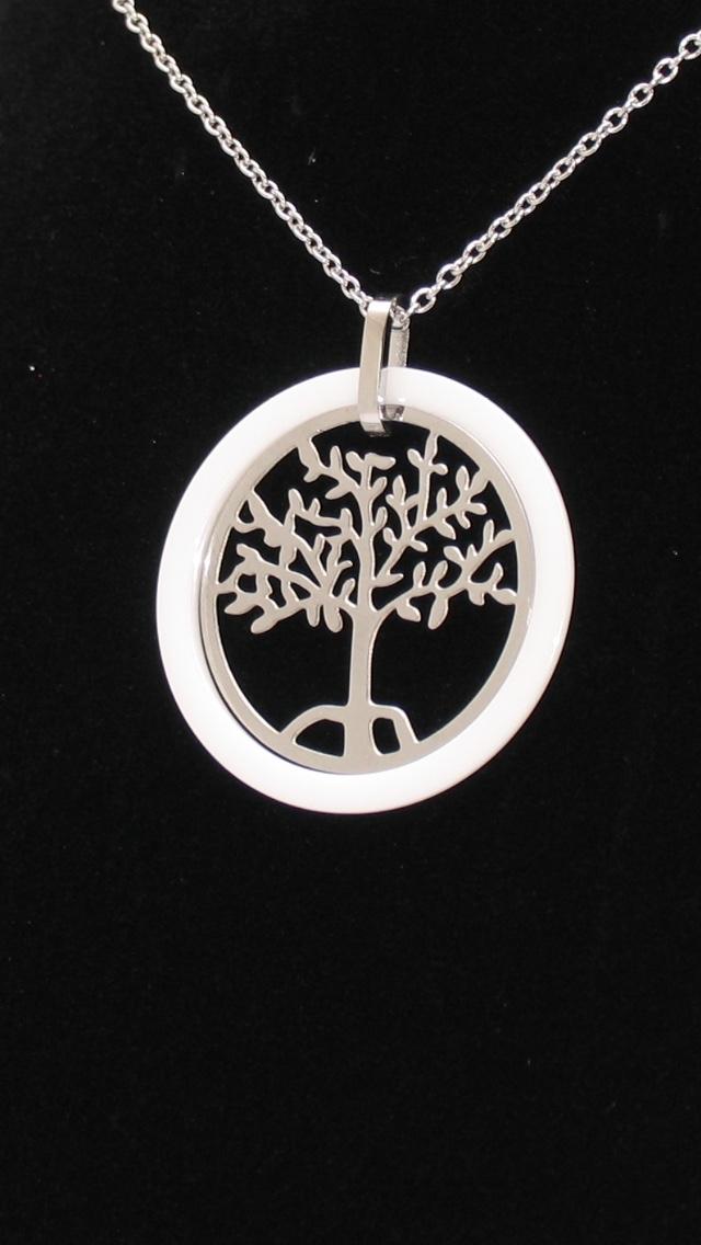 Ewena Přívěsek strom života v smaltovem kruhu s řetízkem