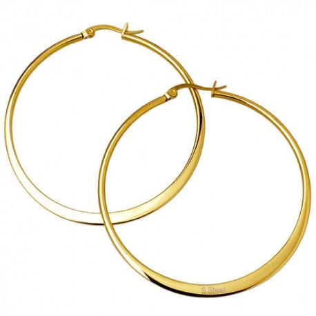 Ewena Náušnice ocelové kruhy 6,5 cm Gold