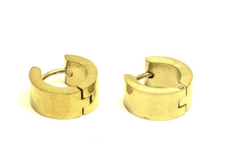 Náušnice chirurgická ocel 12mm NEON/zlatá