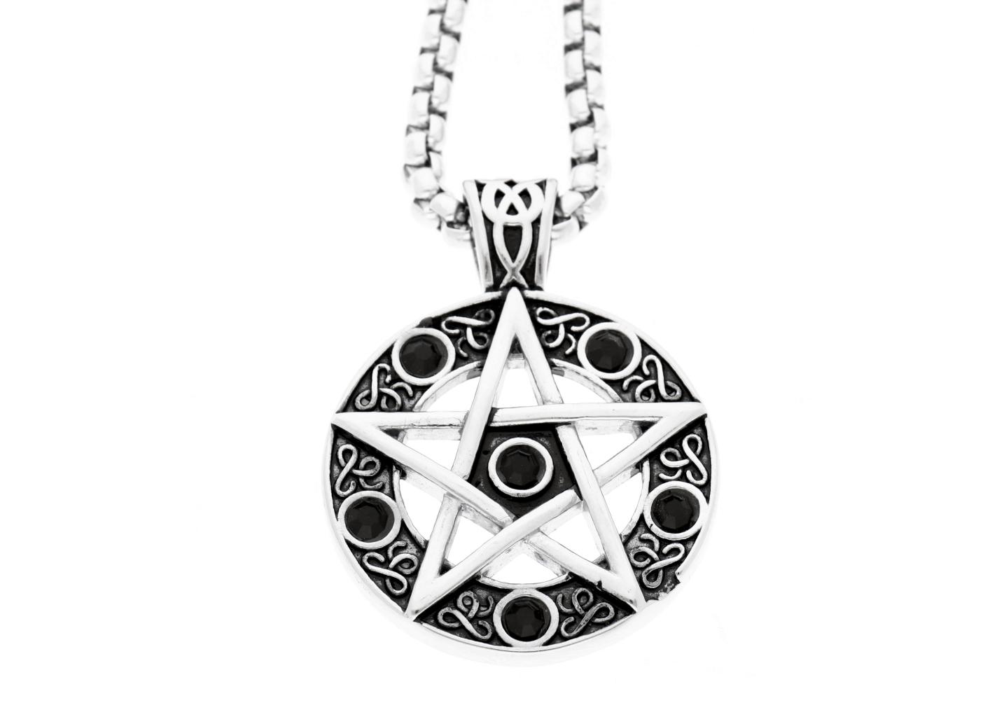 Ewena Přívěsek z chirurgické oceli, Davidova hvězda s černými zirkony + dárkové balení