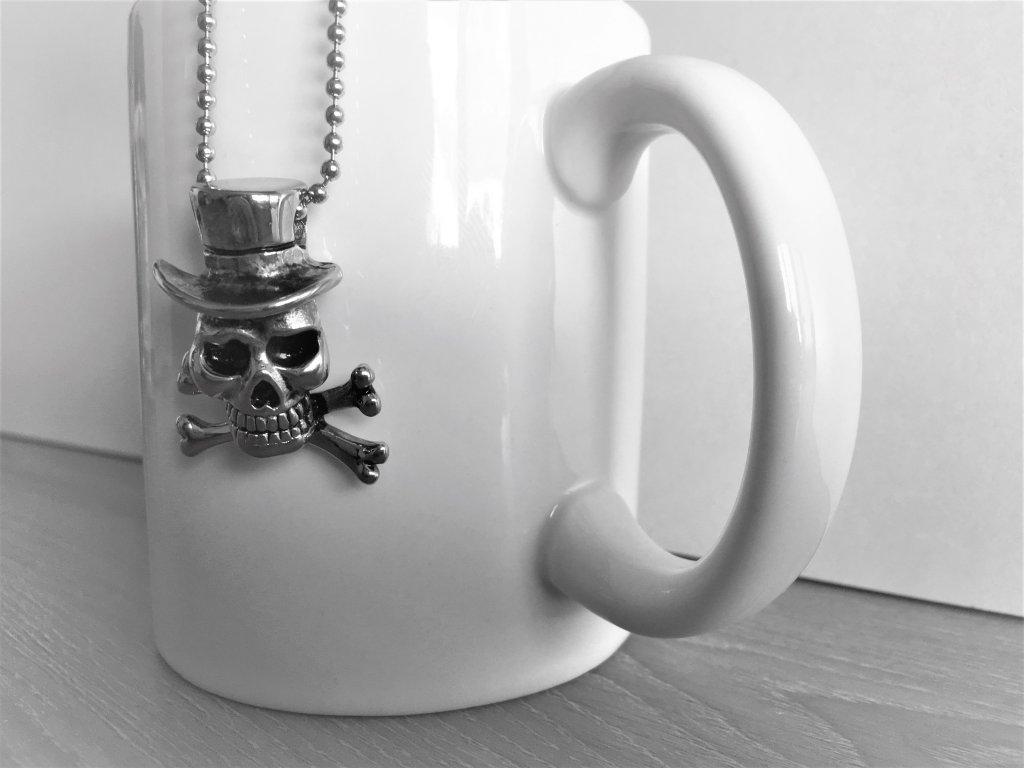 Přívěsek ocelová lebka s řetízkem