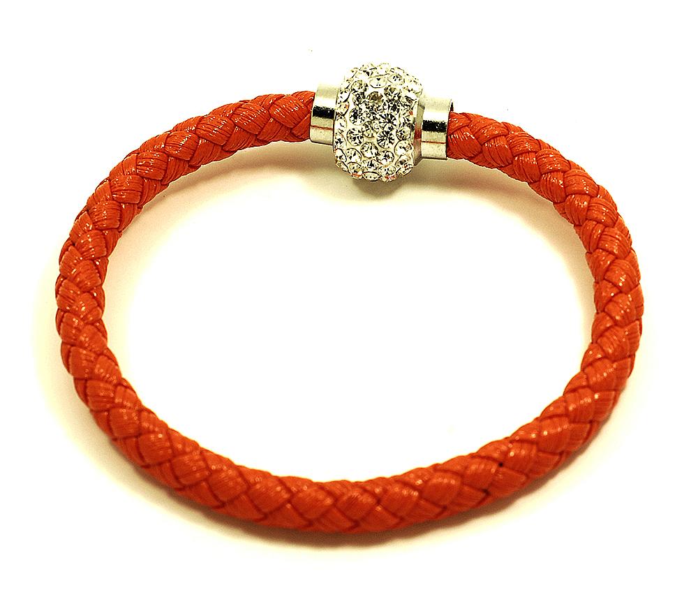 Náramek pletený s kuličkou a magnetickým zapínáním obvod 20 cm různé barvy Barva: Oranžová