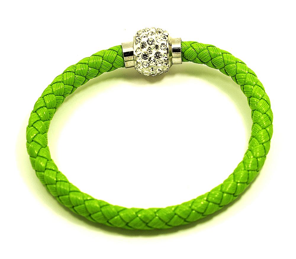 Náramek pletený s kuličkou a magnetickým zapínáním obvod 20 cm různé barvy Barva: Zelená