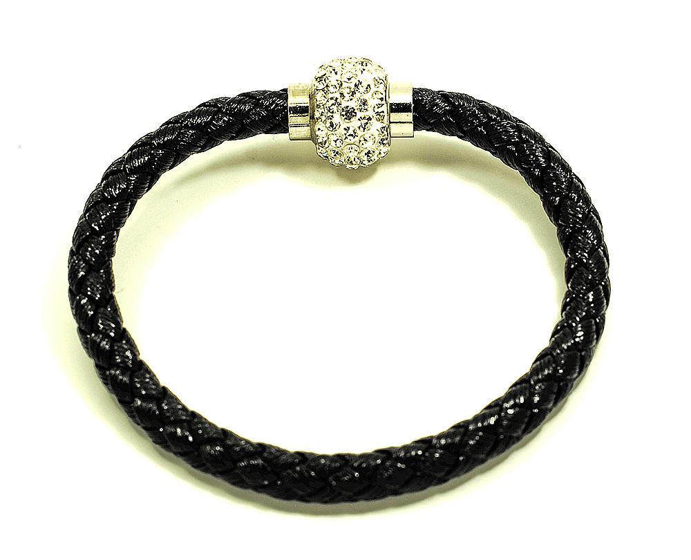 Náramek pletený s kuličkou a magnetickým zapínáním obvod 20 cm různé barvy Barva: Černá