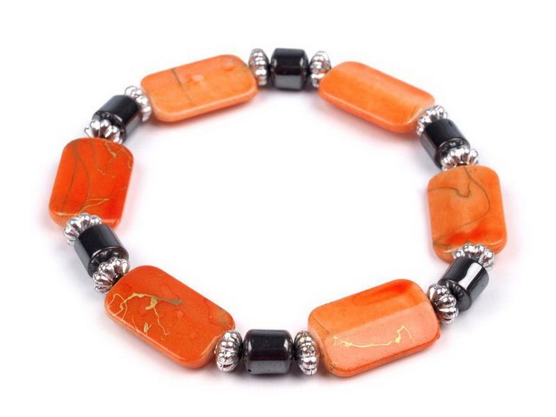 Náramek pružný z plastových kvádrů Barva: Oranžová