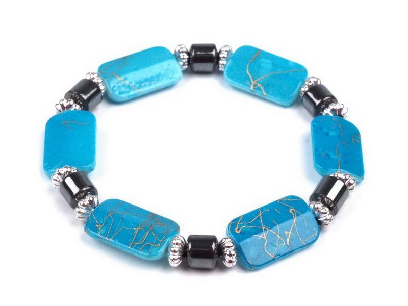 Náramek pružný z plastových kvádrů Barva: Modrá