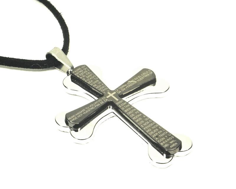 Přívěsek ocelový kříž oblé hrany