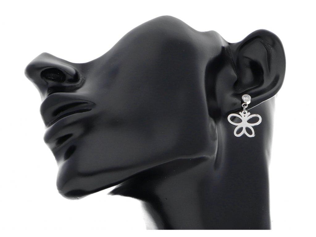 Stříbrné náušnice motýl z chirurgické oceli + dárkové balení