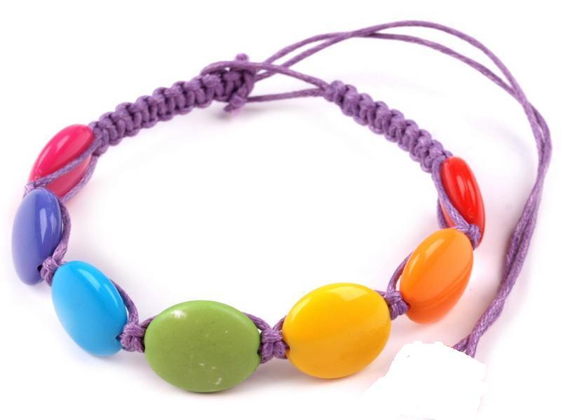 Náramek s plastovými korálky fialový