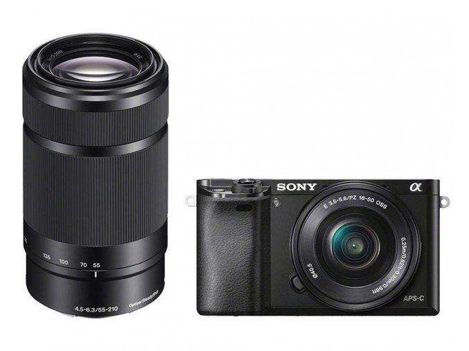 Sony Alpha ILCE-6000 + 16-50mm a 55-210mm čierny
