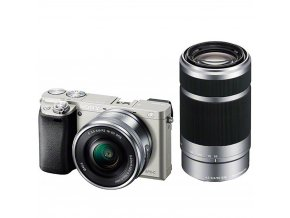 Sony Alpha ILCE-6000 + 16-50mm a 55-210mm strieborný