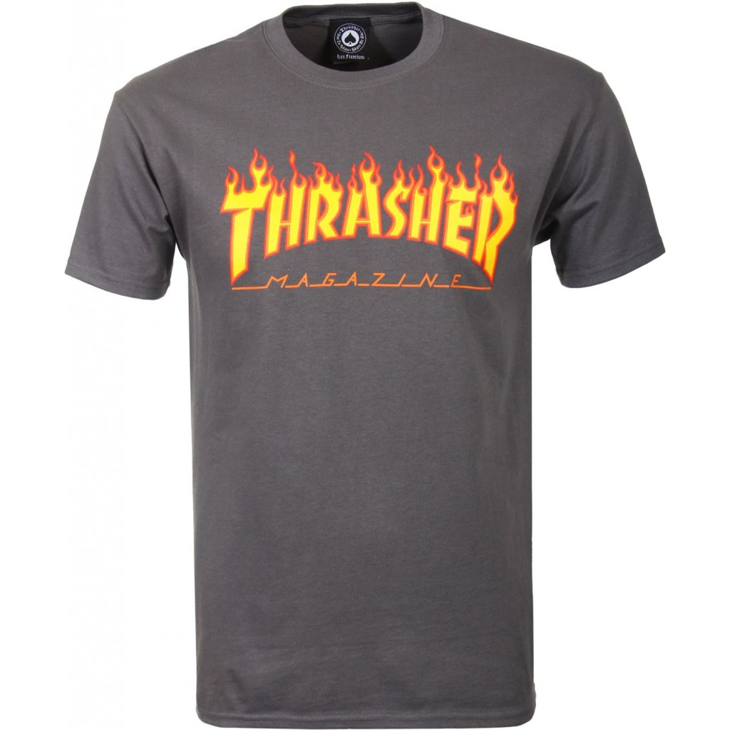 thrasher triko flame charcoal