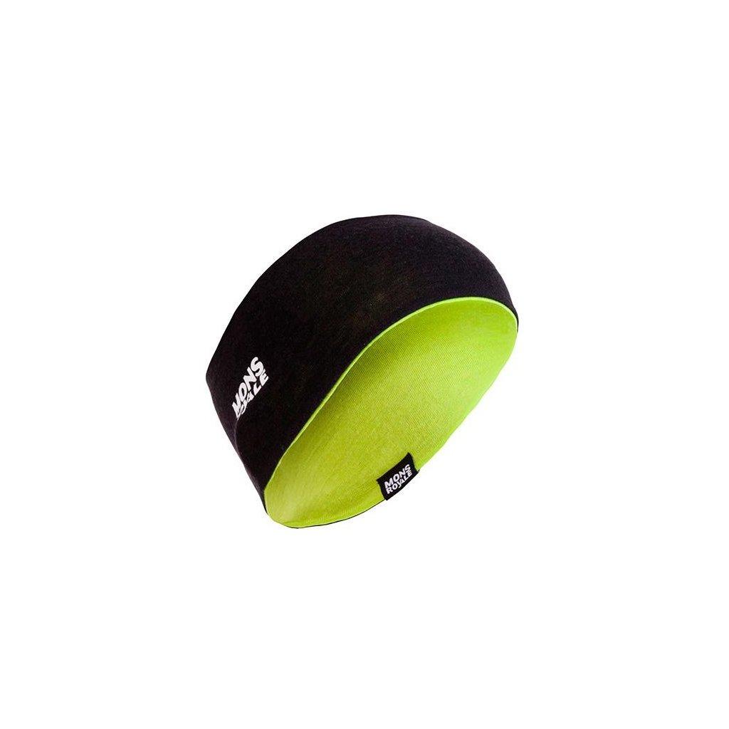 MONS ROYALE merino čelenka UNISEX REVY REVERSIBLE HEADBAND black / lime  + doručení do 24 hod.