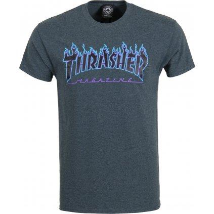 Thrasher tričko Flame Logo Dark Heather  + doručení do 24 hod.