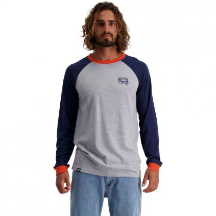 Mons Royale tričko Go To Raglan LS navy / grey marl 2021  + 15% sleva při registraci