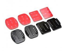 Nalepovací držáky na GoPro rovné 2x + zakřivené 2x (Curved + Flat mount)