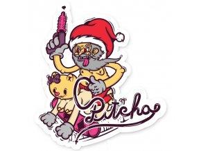 nalepka pitcha santa sticker 10cm pink