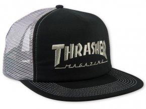 Thrasher kšiltovka trucker Logo Mesh Cap Embroidered Black Grey