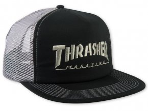 Thrasher kšiltovka trucker Logo Mesh Cap Embroidered Black Grey