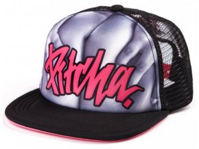 ksiltovka pitcha assy trucker snapback black pink