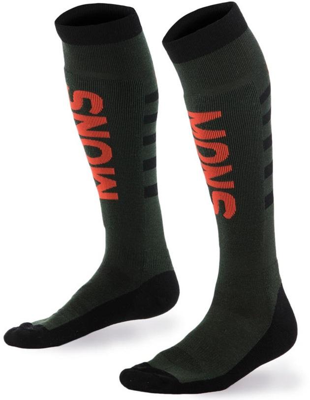 MONS ROYALE ponožky merino MONS SNOW Tech Sock Mens FOREST GREEN / BLACK / FLAME 17/18 Velikost: M