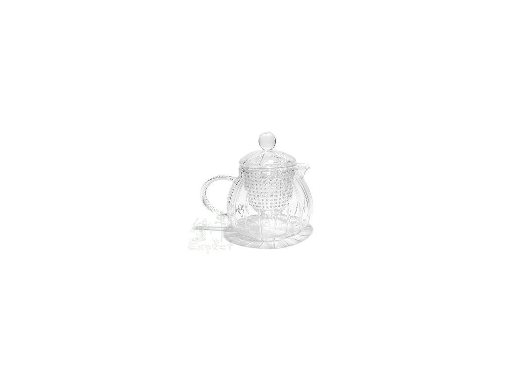 Konvička na čaj varné sklo vroubkovaná 0,6l