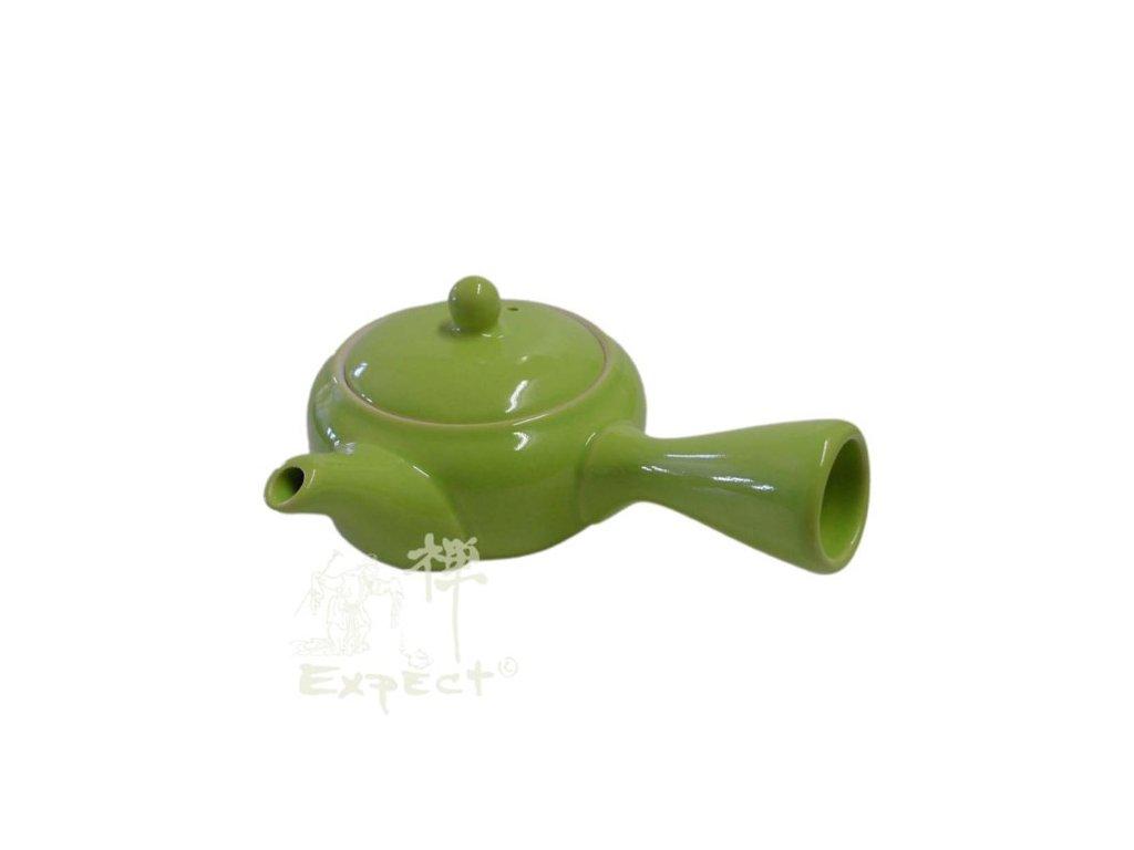 Japonská porcelánová konvice Kyusu zelenožlutá 0,4 l