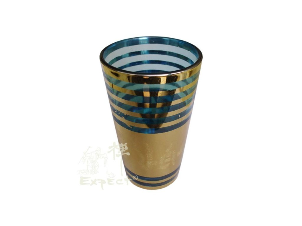 Sklenička Meknes Gold line 1dcl modrá