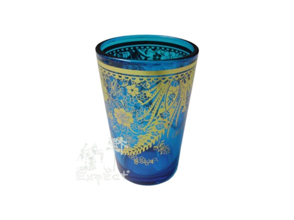 Sklenička na čaj Bamira Modrozlatá 2dcl