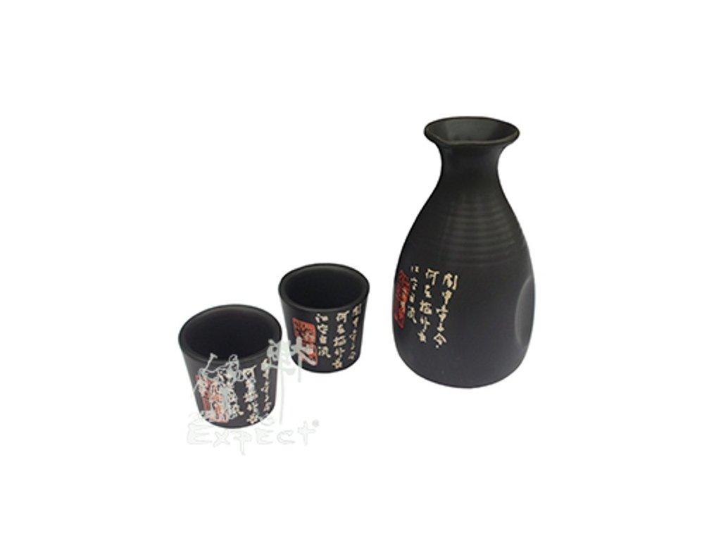 souprava saké China porcelán Grey znaky / 5ks