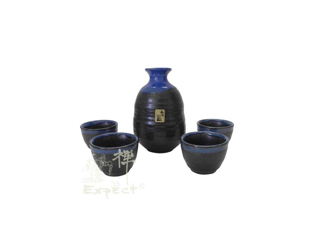 souprava Sake japan blue grey/ 5ks/ karafa_kalíšky
