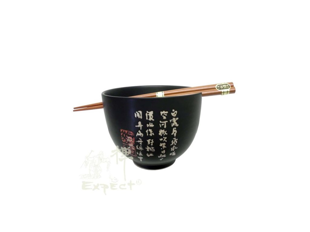 miska Soba China porcelán Black znaky 12cm