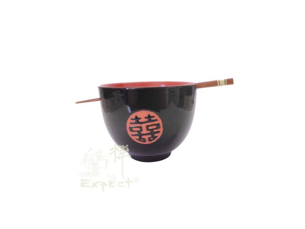 miska porcelánová Japan style Soba Black red 12cm