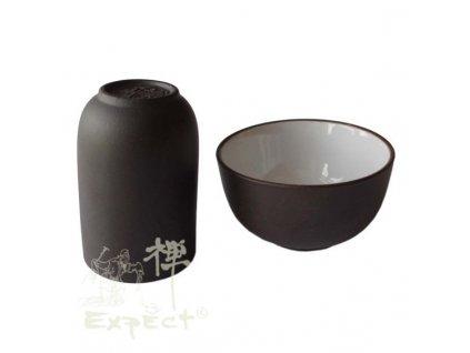 Yixing čichátko + miska /tmavě hnědé