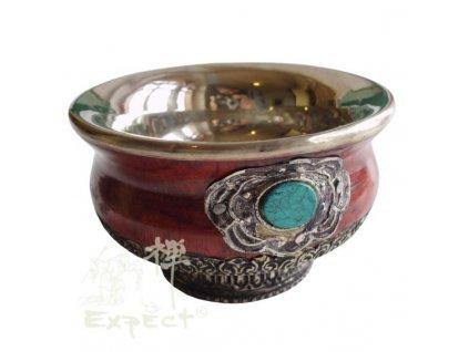 miska Tibet dřevo-kov-tyrkys 10,5cm