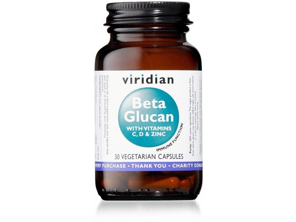 Viridian Beta Glucan 30 kapslí  + ZDARMA tester produktu (protein, nakopávač, tyčinka)